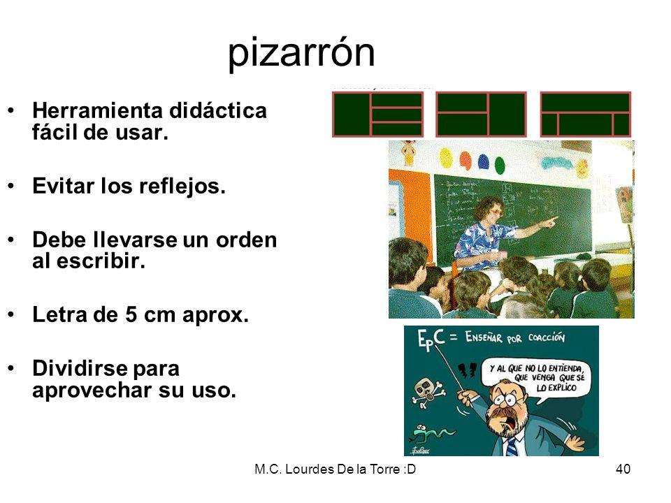 M.C. Lourdes De la Torre :D40 pizarrón Herramienta didáctica fácil de usar. Evitar los reflejos. Debe llevarse un orden al escribir. Letra de 5 cm apr