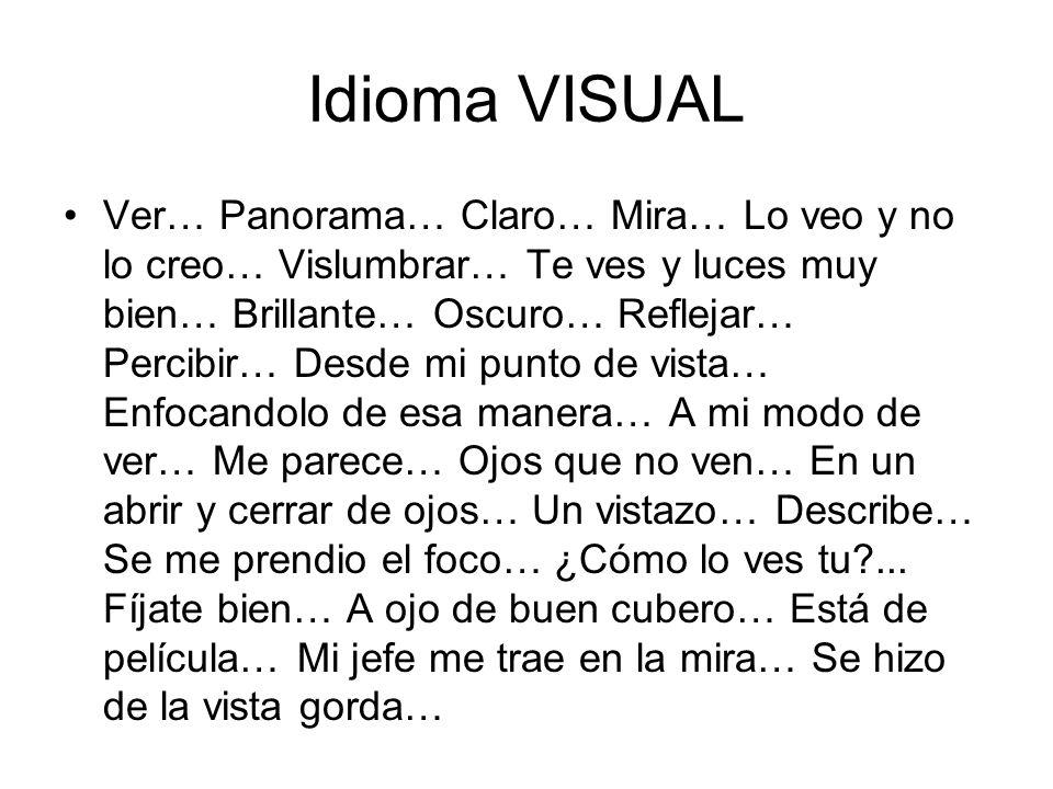 Idioma VISUAL Ver… Panorama… Claro… Mira… Lo veo y no lo creo… Vislumbrar… Te ves y luces muy bien… Brillante… Oscuro… Reflejar… Percibir… Desde mi pu