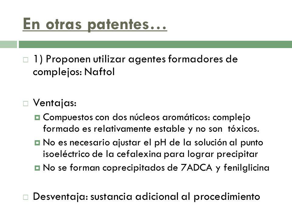 En otras patentes… 1) Proponen utilizar agentes formadores de complejos: Naftol Ventajas: Compuestos con dos núcleos aromáticos: complejo formado es r