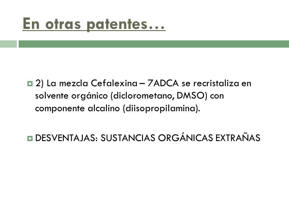 En otras patentes… 2) La mezcla Cefalexina – 7ADCA se recristaliza en solvente orgánico (diclorometano, DMSO) con componente alcalino (diisopropilamin