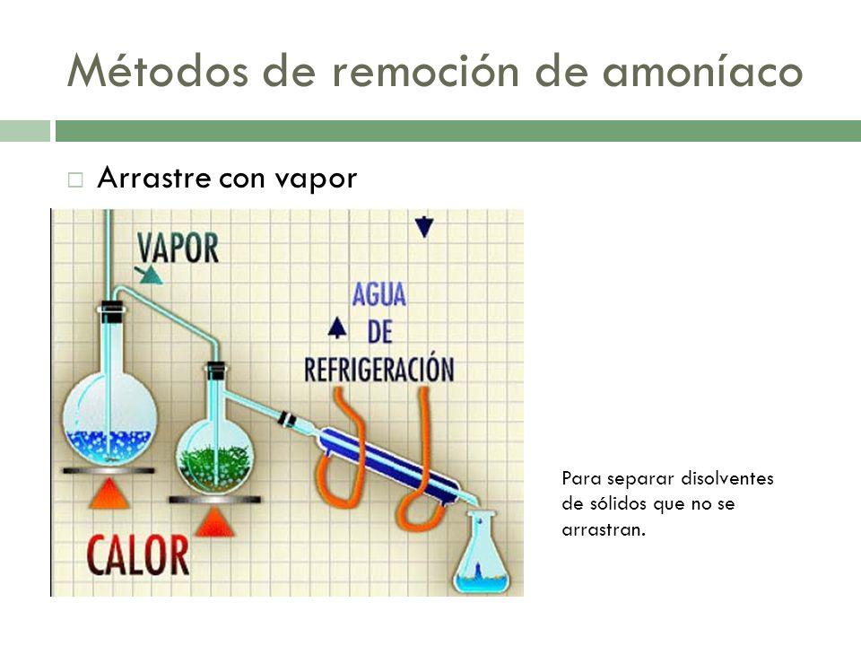 Métodos de remoción de amoníaco Arrastre con vapor Para separar disolventes de sólidos que no se arrastran.