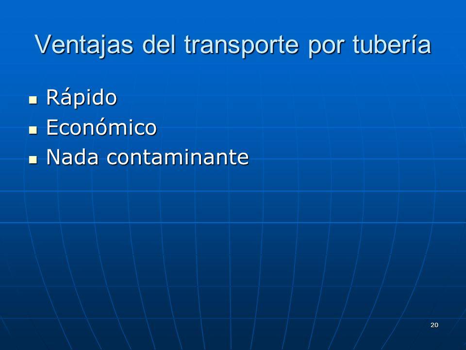 19 TRANSPORTE POR TUBERÍA Aquel medio de transporte que utiliza las tuberías para distribuir la mercancía (petróleo, gas…) Aquel medio de transporte q