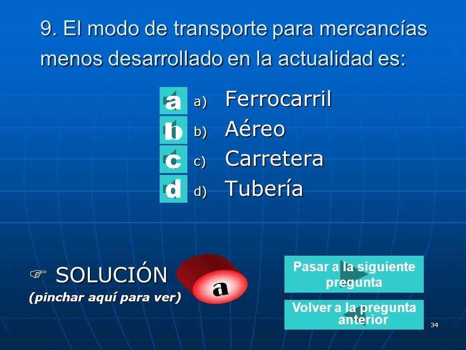 33 8. El modo de transporte que puede llegar a cualquier lugar es: a) Marítimo b) Aéreo c) Ferrocarril d) Fluvial SOLUCIÓN SOLUCIÓN (pinchar aquí para