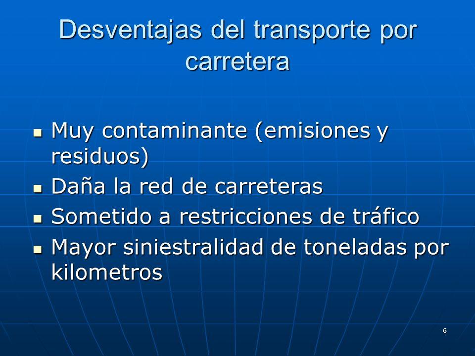 6 Desventajas del transporte por carretera Muy contaminante (emisiones y residuos) Muy contaminante (emisiones y residuos) Daña la red de carreteras Daña la red de carreteras Sometido a restricciones de tráfico Sometido a restricciones de tráfico Mayor siniestralidad de toneladas por kilometros Mayor siniestralidad de toneladas por kilometros
