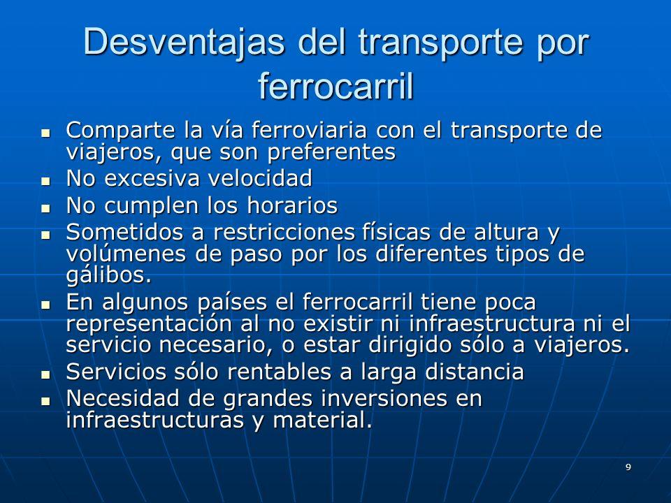 8 Ventajas del transporte por ferrocarril Poco contaminante Poco contaminante Evita problemas de tráfico Evita problemas de tráfico Mayor trazabilidad