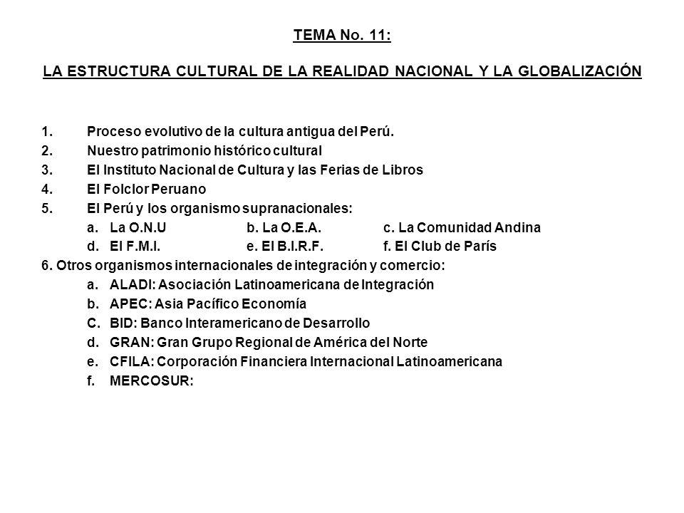 TEMA No. 11: LA ESTRUCTURA CULTURAL DE LA REALIDAD NACIONAL Y LA GLOBALIZACIÓN 1.Proceso evolutivo de la cultura antigua del Perú. 2.Nuestro patrimoni