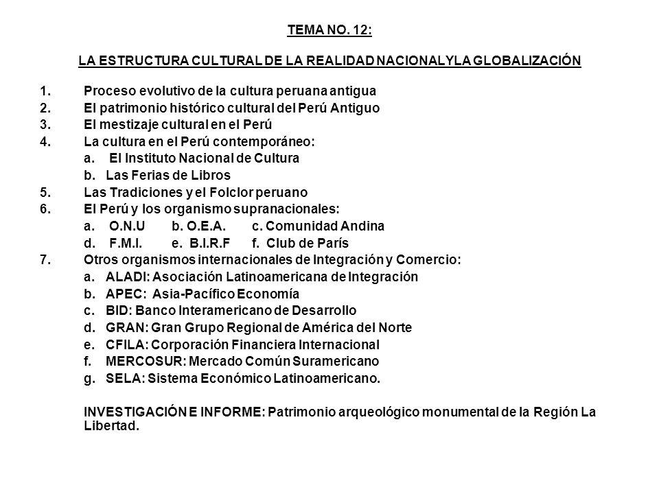 TEMA NO. 12: LA ESTRUCTURA CULTURAL DE LA REALIDAD NACIONALYLA GLOBALIZACIÓN 1.Proceso evolutivo de la cultura peruana antigua 2.El patrimonio históri
