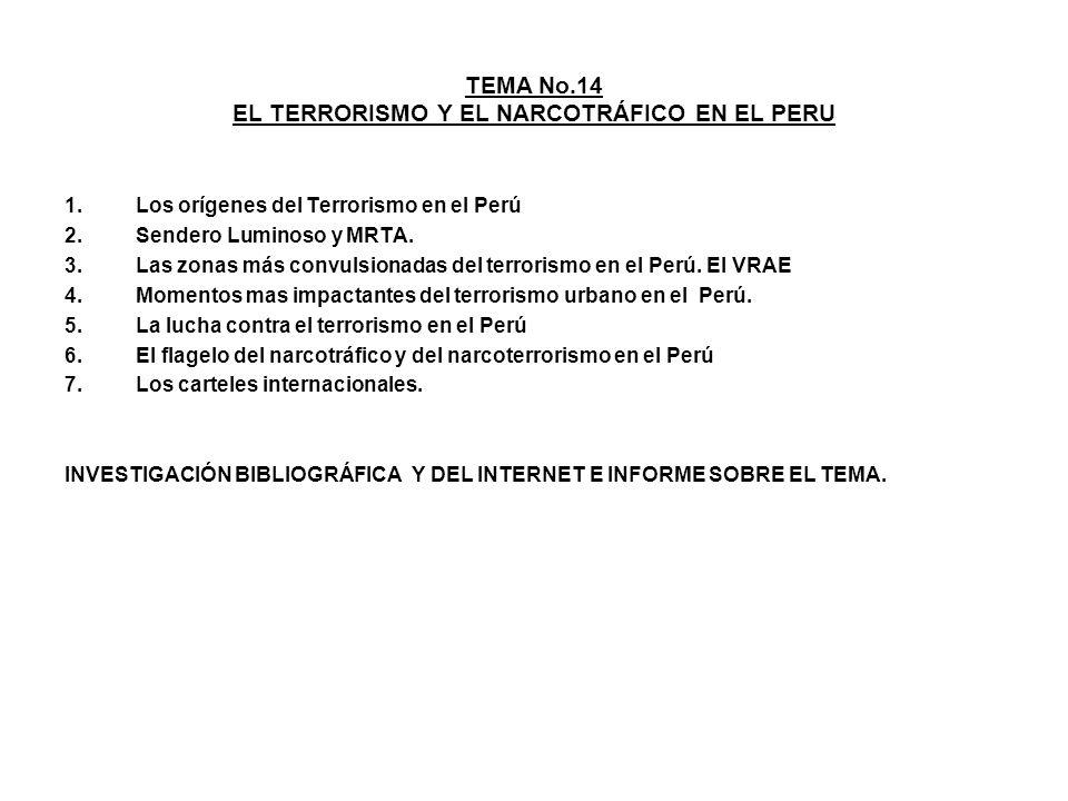 TEMA No.14 EL TERRORISMO Y EL NARCOTRÁFICO EN EL PERU 1.Los orígenes del Terrorismo en el Perú 2.Sendero Luminoso y MRTA. 3.Las zonas más convulsionad