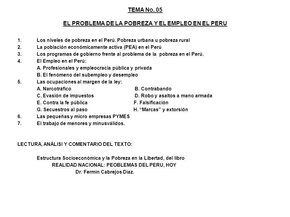 TEMA No. 05 EL PROBLEMA DE LA POBREZA Y EL EMPLEO EN EL PERU 1.Los niveles de pobreza en el Perú. Pobreza urbana u pobreza rural 2.La población económ