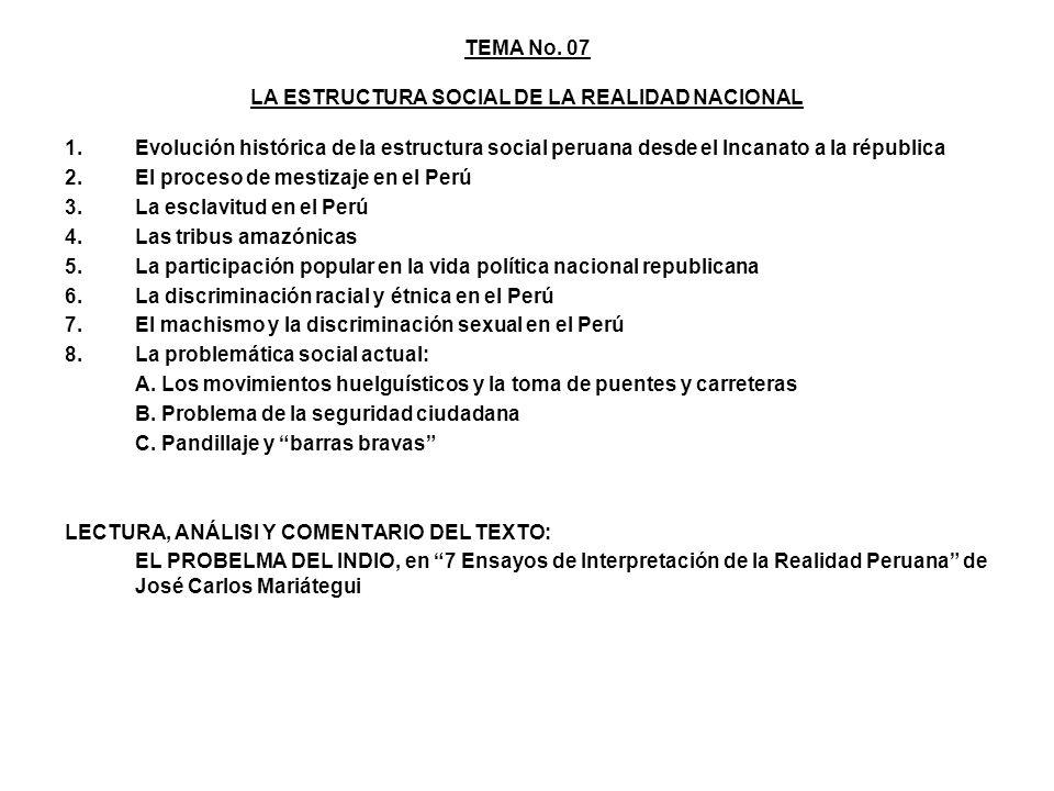 TEMA No. 07 LA ESTRUCTURA SOCIAL DE LA REALIDAD NACIONAL 1.Evolución histórica de la estructura social peruana desde el Incanato a la républica 2.El p