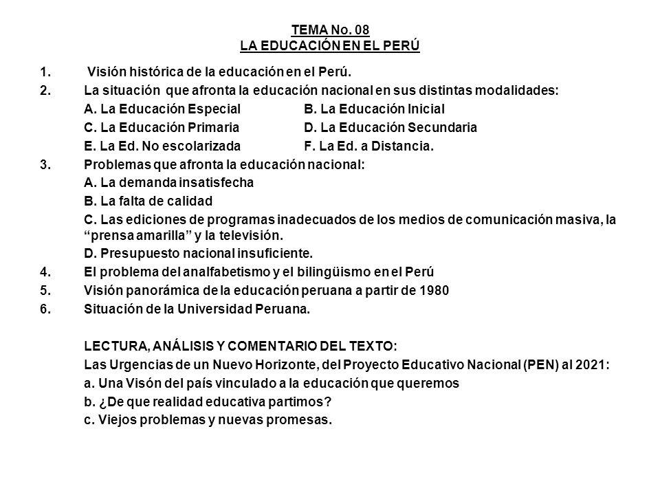 TEMA No. 08 LA EDUCACIÓN EN EL PERÚ 1. Visión histórica de la educación en el Perú. 2.La situación que afronta la educación nacional en sus distintas