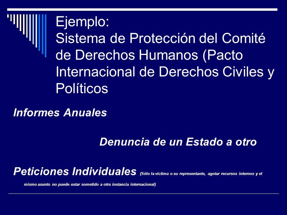 Ejemplo: Sistema de Protección del Comité de Derechos Humanos (Pacto Internacional de Derechos Civiles y Políticos Informes Anuales Denuncia de un Est