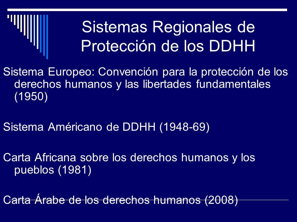 Sistema Europeo: Convención para la protección de los derechos humanos y las libertades fundamentales (1950) Sistema Américano de DDHH (1948-69) Carta