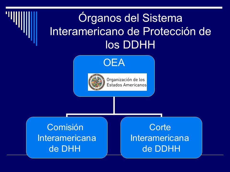 Órganos del Sistema Interamericano de Protección de los DDHH OEA Comisión Interamericana de DHH Corte Interamericana de DDHH
