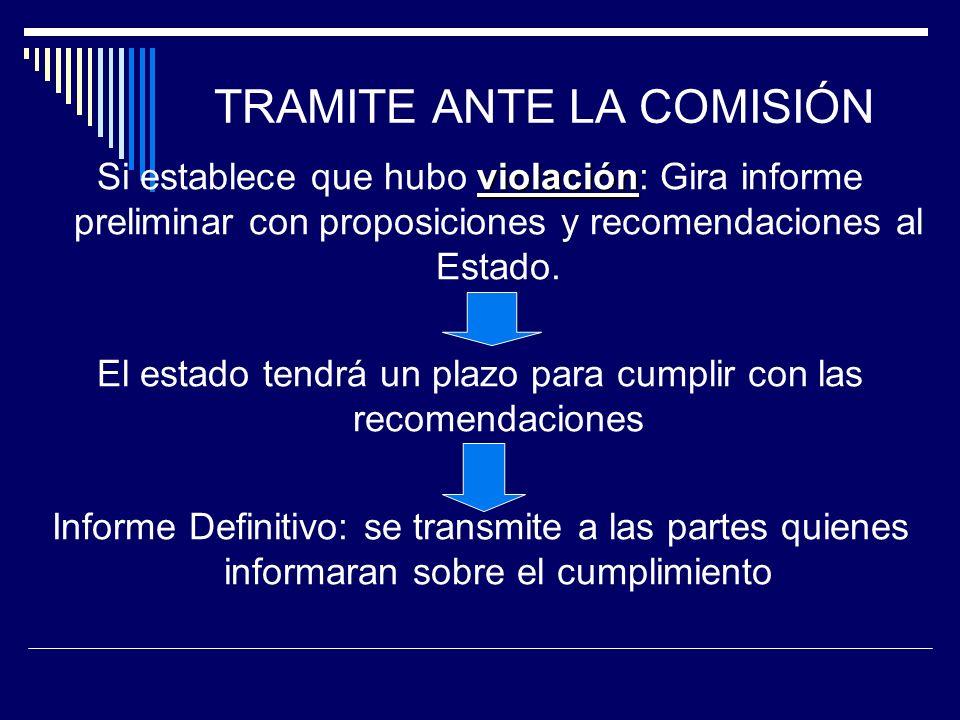 TRAMITE ANTE LA COMISIÓN violación Si establece que hubo violación: Gira informe preliminar con proposiciones y recomendaciones al Estado. El estado t