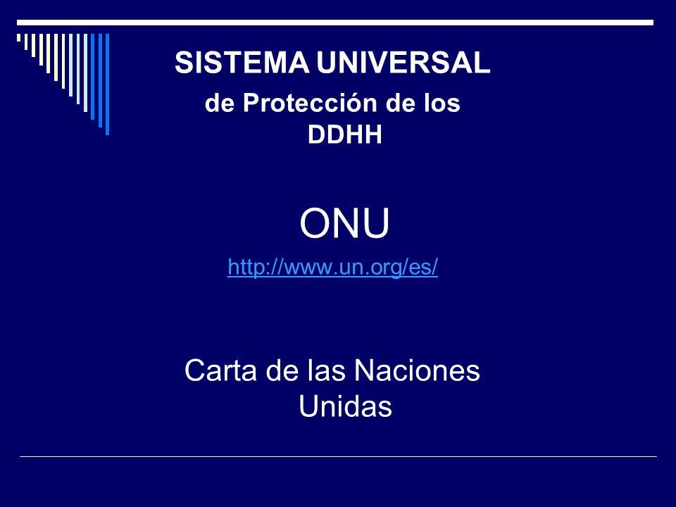 SISTEMA UNIVERSAL de Protección de los DDHH ONU http://www.un.org/es/ Carta de las Naciones Unidas