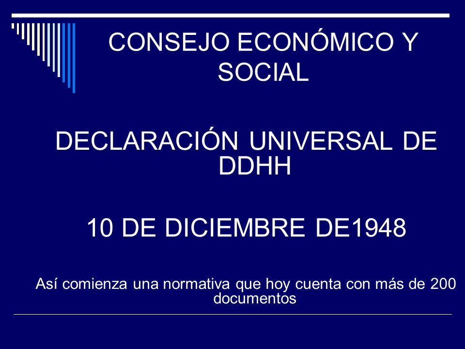 CONSEJO ECONÓMICO Y SOCIAL DECLARACIÓN UNIVERSAL DE DDHH 10 DE DICIEMBRE DE1948 Así comienza una normativa que hoy cuenta con más de 200 documentos SI