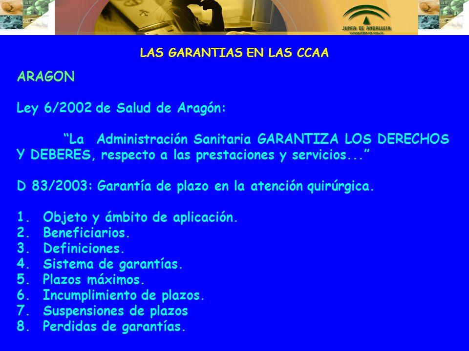 LAS GARANTIAS EN LAS CCAA ARAGON Ley 6/2002 de Salud de Aragón: La Administración Sanitaria GARANTIZA LOS DERECHOS Y DEBERES, respecto a las prestacio