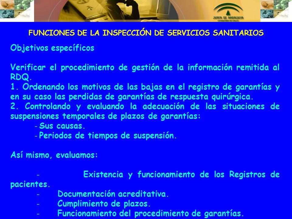 FUNCIONES DE LA INSPECCIÓN DE SERVICIOS SANITARIOS Objetivos específicos Verificar el procedimiento de gestión de la información remitida al RDQ. 1. O
