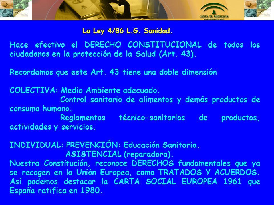 La Ley 4/86 L.G. Sanidad. Hace efectivo el DERECHO CONSTITUCIONAL de todos los ciudadanos en la protección de la Salud (Art. 43). Recordamos que este