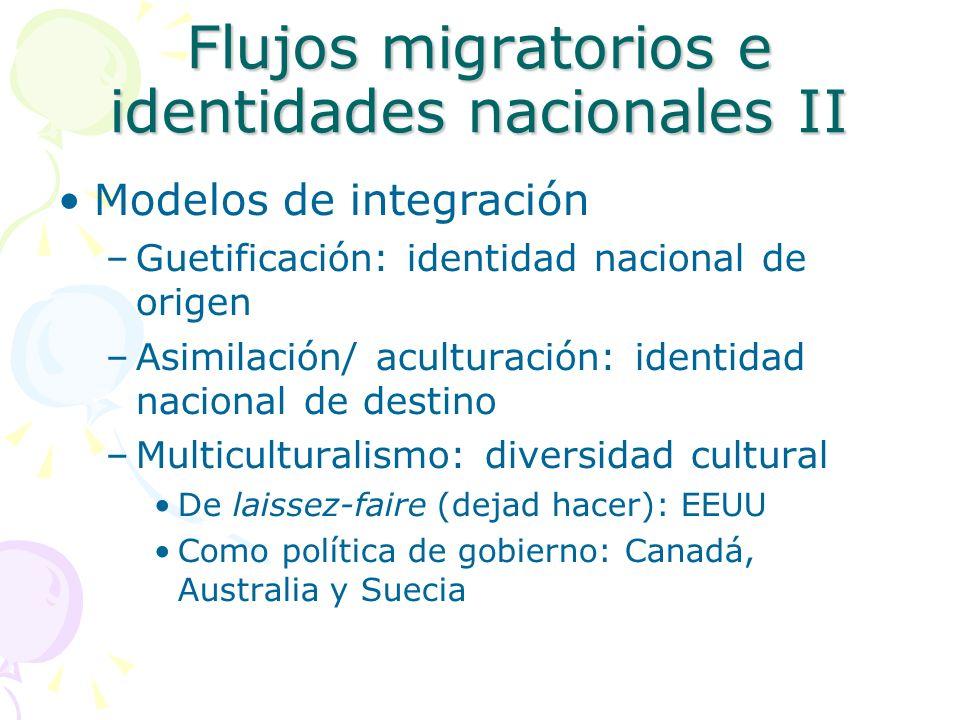 Flujos migratorios e identidades nacionales II Modelos de integración –Guetificación: identidad nacional de origen –Asimilación/ aculturación: identid