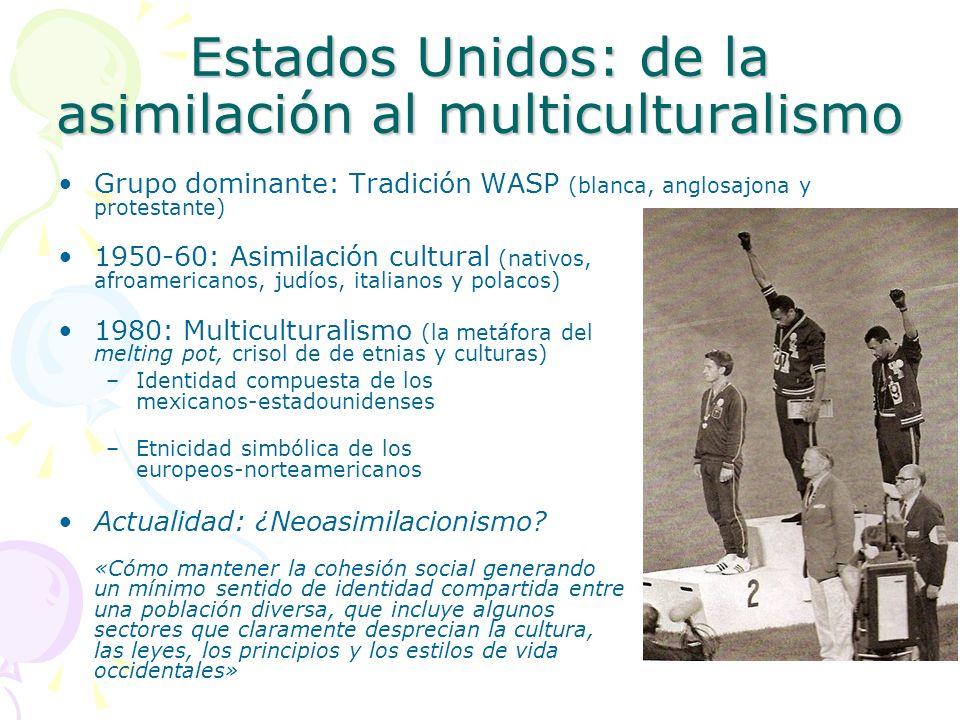 Estados Unidos: de la asimilación al multiculturalismo Grupo dominante: Tradición WASP (blanca, anglosajona y protestante) 1950-60: Asimilación cultur