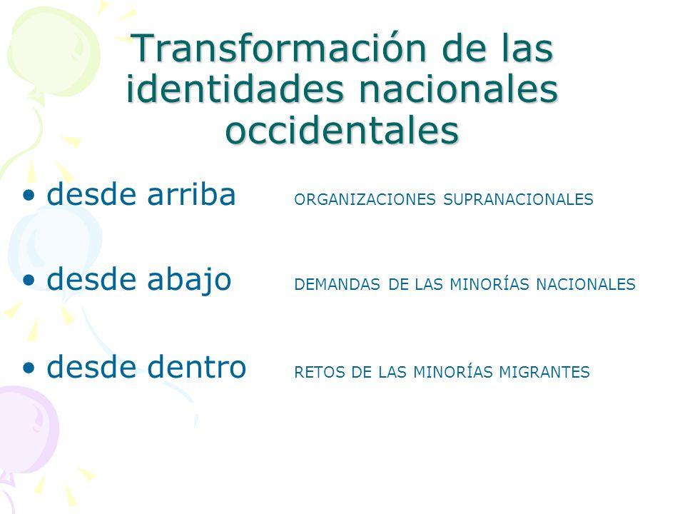 Transformación de las identidades nacionales occidentales desde arriba ORGANIZACIONES SUPRANACIONALES desde abajo DEMANDAS DE LAS MINORÍAS NACIONALES