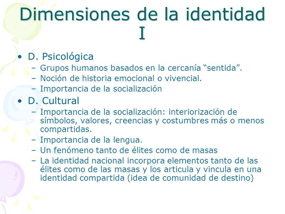 Dimensiones de la identidad I D. Psicológica –Grupos humanos basados en la cercanía sentida. –Noción de historia emocional o vivencial. –Importancia d