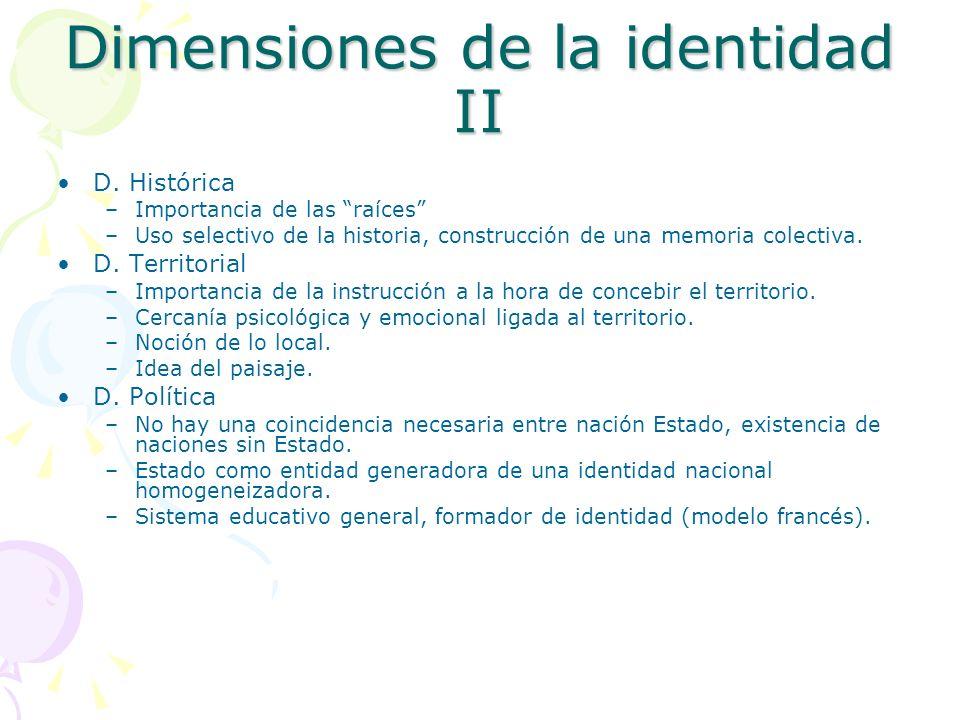 Dimensiones de la identidad II D. Histórica –Importancia de las raíces –Uso selectivo de la historia, construcción de una memoria colectiva. D. Territ