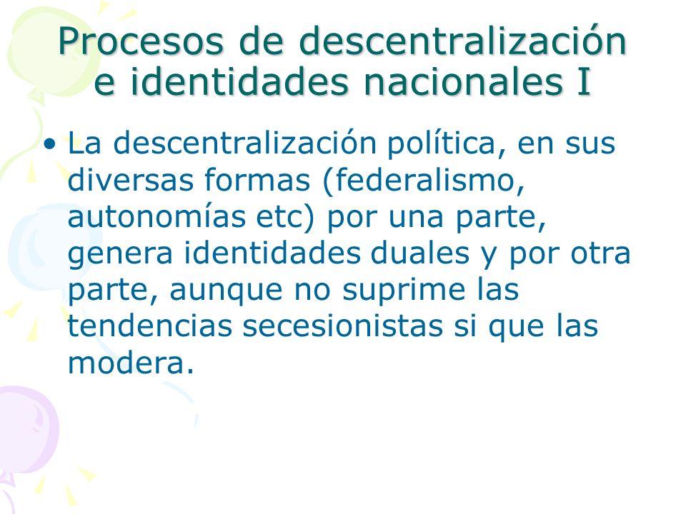 Canadá –Federación –Quebec España –Descentralización política simétrica –Cataluña Gran Bretaña –Descentralización política asimétrica –Escocia Procesos de descentralización e identidades nacionales III