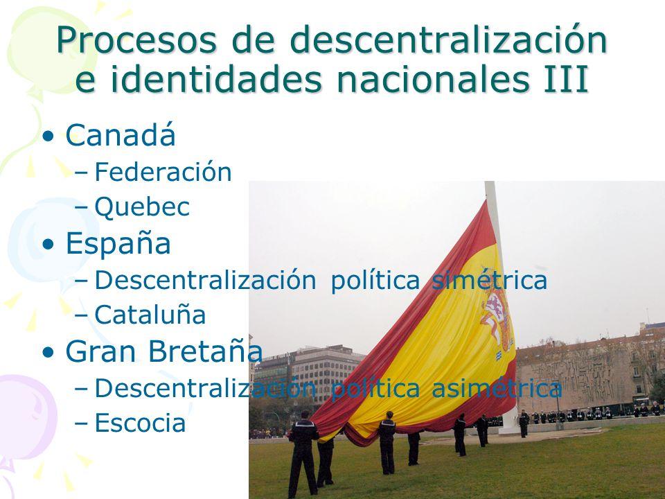Canadá –Federación –Quebec España –Descentralización política simétrica –Cataluña Gran Bretaña –Descentralización política asimétrica –Escocia Proceso