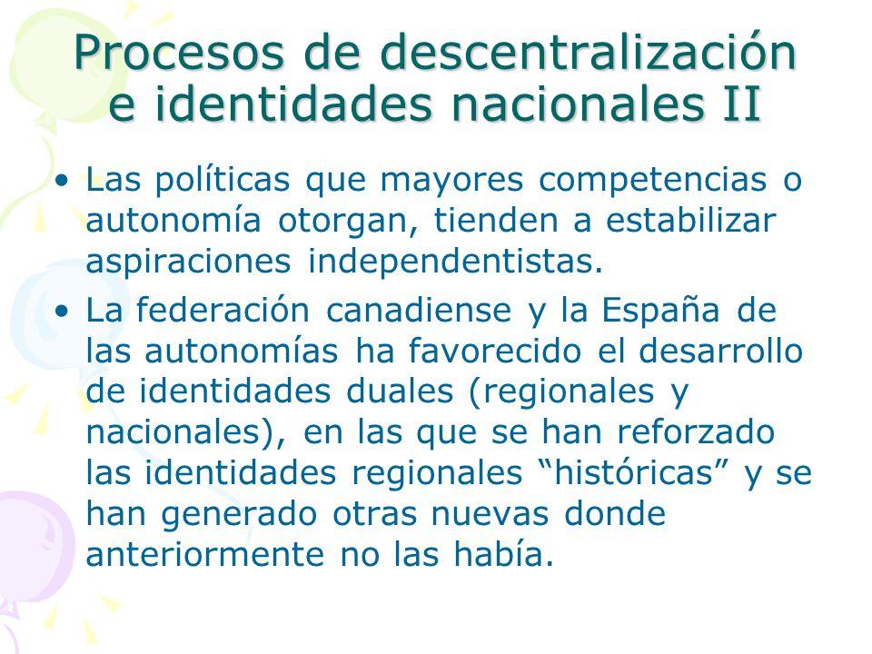 Procesos de descentralización e identidades nacionales II Las políticas que mayores competencias o autonomía otorgan, tienden a estabilizar aspiracion