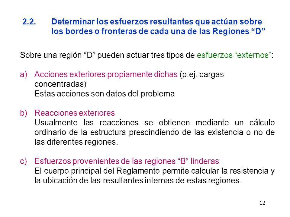 12 2.2.Determinar los esfuerzos resultantes que actúan sobre los bordes o fronteras de cada una de las Regiones D Sobre una región D pueden actuar tre