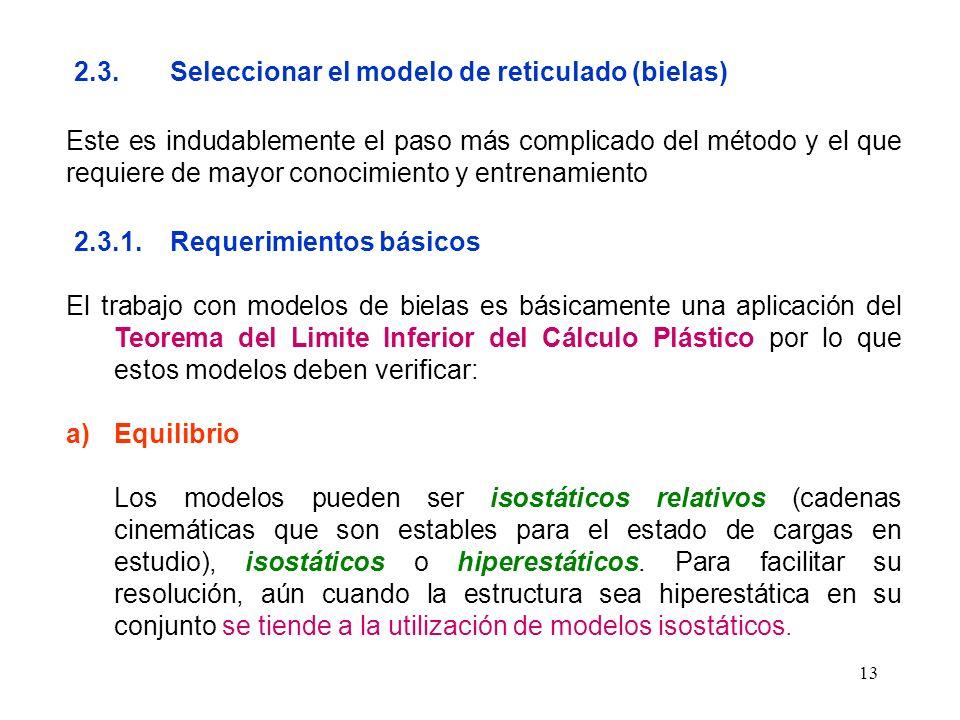 13 2.3.Seleccionar el modelo de reticulado (bielas) Este es indudablemente el paso más complicado del método y el que requiere de mayor conocimiento y
