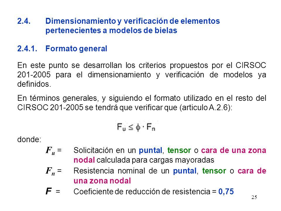 25 2.4.Dimensionamiento y verificación de elementos pertenecientes a modelos de bielas 2.4.1.Formato general En este punto se desarrollan los criterio