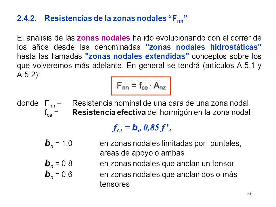 26 2.4.2.Resistencias de la zonas nodales F nn El análisis de las zonas nodales ha ido evolucionando con el correr de los años desde las denominadas