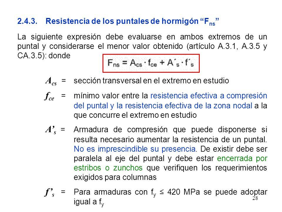 28 2.4.3.Resistencia de los puntales de hormigón F ns La siguiente expresión debe evaluarse en ambos extremos de un puntal y considerarse el menor val
