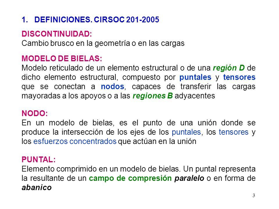 3 1. DEFINICIONES. CIRSOC 201-2005 DISCONTINUIDAD: Cambio brusco en la geometría o en las cargas MODELO DE BIELAS: Modelo reticulado de un elemento es