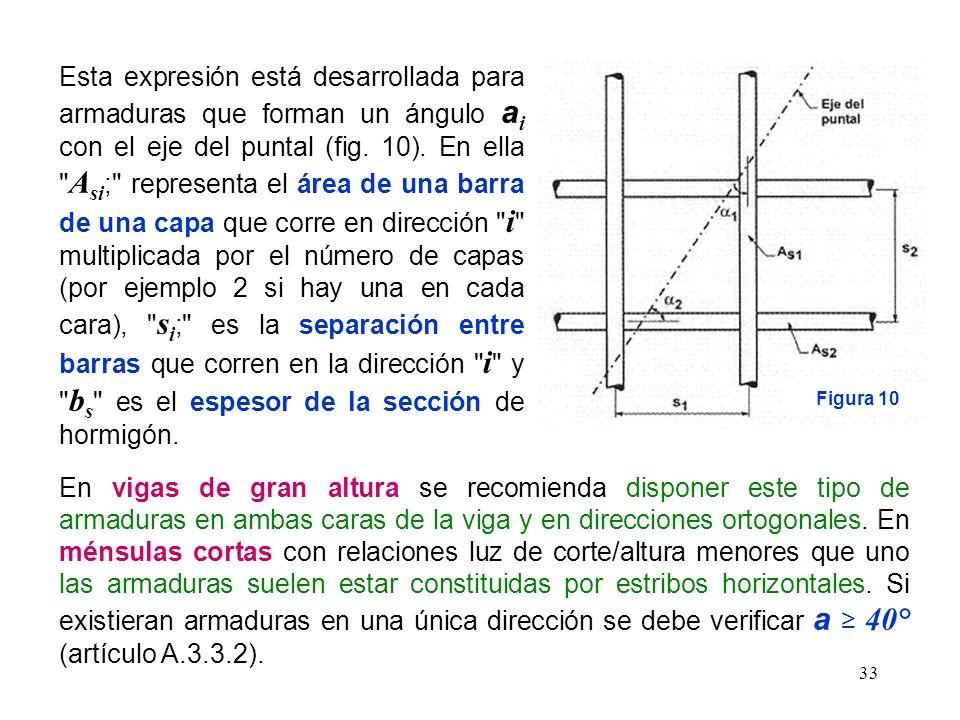 33 Esta expresión está desarrollada para armaduras que forman un ángulo a i con el eje del puntal (fig. 10). En ella