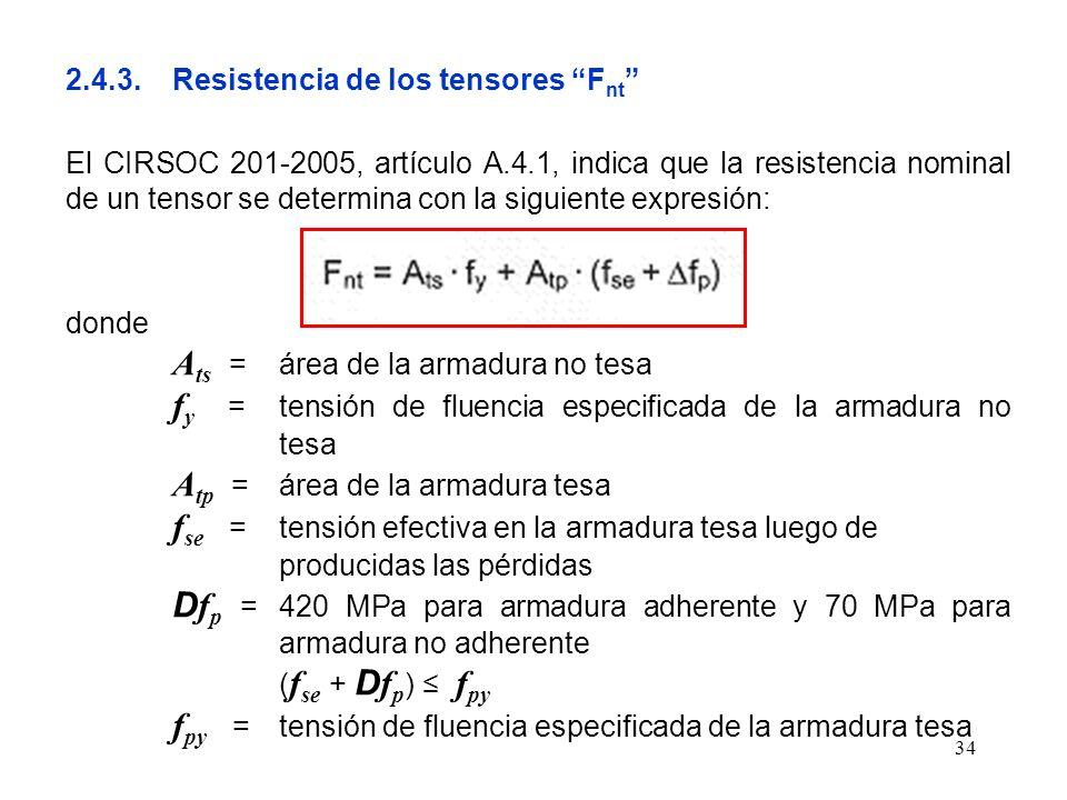 34 2.4.3.Resistencia de los tensores F nt El CIRSOC 201-2005, artículo A.4.1, indica que la resistencia nominal de un tensor se determina con la sigui