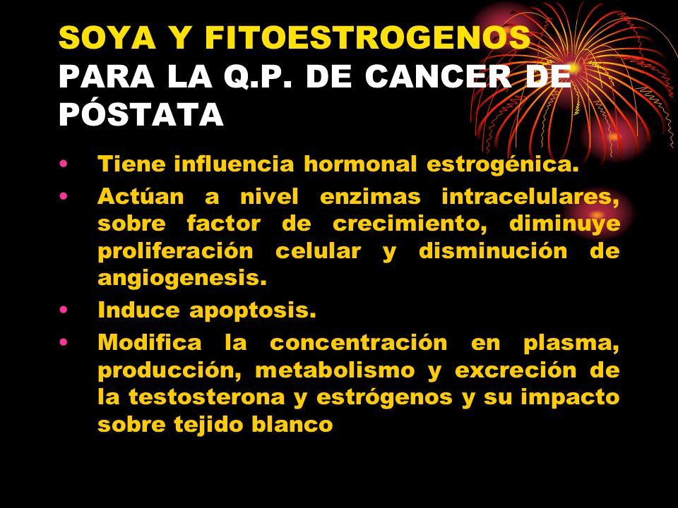 SOYA Y FITOESTROGENOS PARA LA Q.P. DE CANCER DE PÓSTATA Tiene influencia hormonal estrogénica. Actúan a nivel enzimas intracelulares, sobre factor de