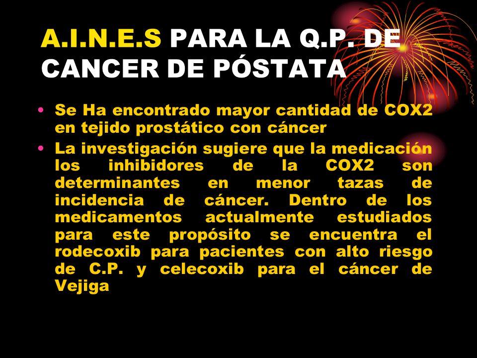 A.I.N.E.S PARA LA Q.P. DE CANCER DE PÓSTATA Se Ha encontrado mayor cantidad de COX2 en tejido prostático con cáncer La investigación sugiere que la me