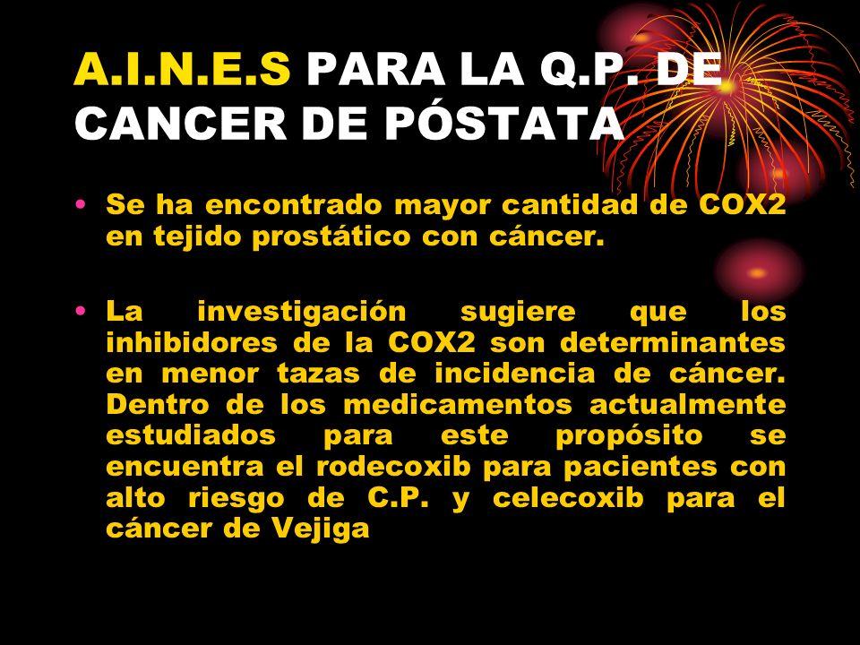 A.I.N.E.S PARA LA Q.P. DE CANCER DE PÓSTATA Se ha encontrado mayor cantidad de COX2 en tejido prostático con cáncer. La investigación sugiere que los