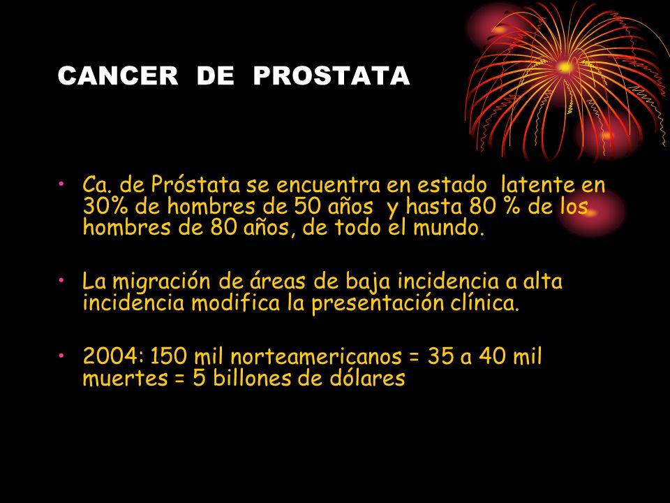 CANCER DE PROSTATA Ca. de Próstata se encuentra en estado latente en 30% de hombres de 50 años y hasta 80 % de los hombres de 80 años, de todo el mund