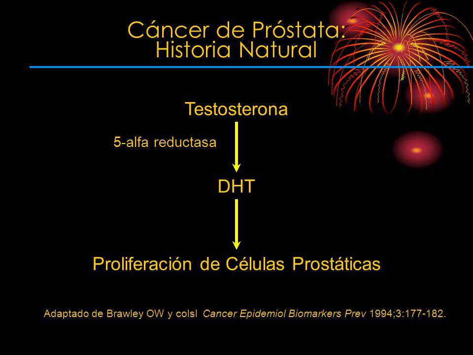 5-alfa reductasa Adaptado de Brawley OW y colsl Cancer Epidemiol Biomarkers Prev 1994;3:177-182. Cáncer de Próstata: Historia Natural DHT Proliferació