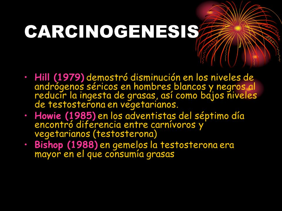 CARCINOGENESIS Hill (1979) demostró disminución en los niveles de andrógenos séricos en hombres blancos y negros al reducir la ingesta de grasas, así