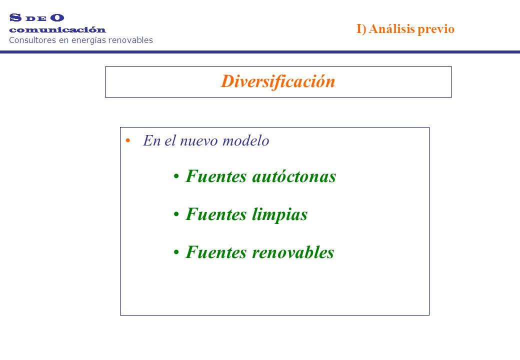 Diversificación En el nuevo modelo Fuentes autóctonas Fuentes limpias Fuentes renovables S D E O comunicación Consultores en energías renovables I) Análisis previo