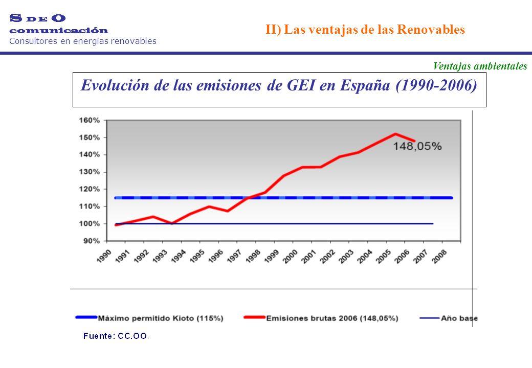 Evolución de las emisiones de GEI en España (1990-2006) S D E O comunicación Consultores en energías renovables II) Las ventajas de las Renovables Ventajas ambientales