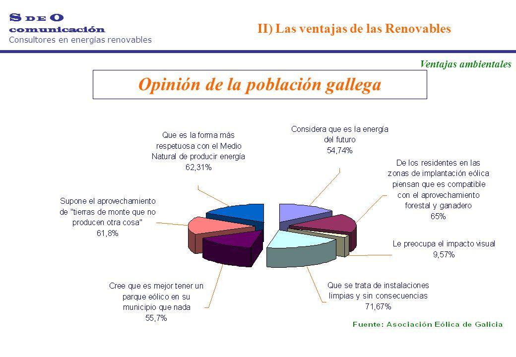 Opinión de la población gallega S D E O comunicación Consultores en energías renovables II) Las ventajas de las Renovables Ventajas ambientales