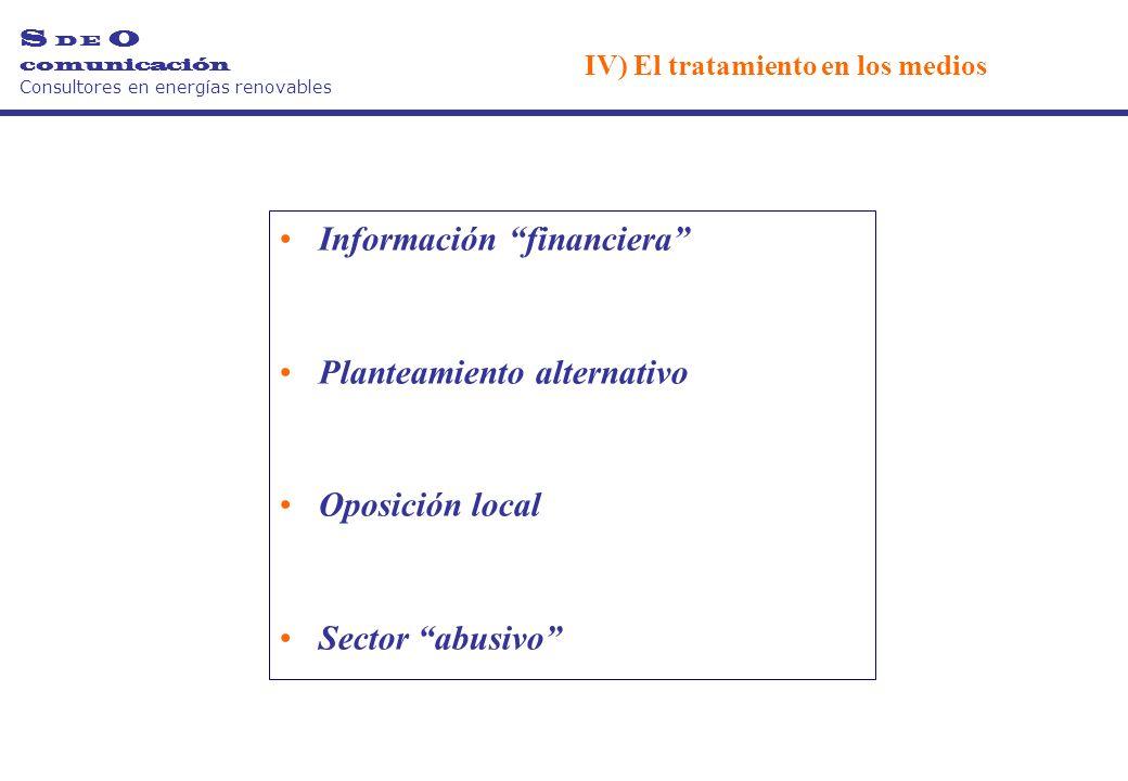 Información financiera Planteamiento alternativo Oposición local Sector abusivo S D E O comunicación Consultores en energías renovables IV) El tratamiento en los medios